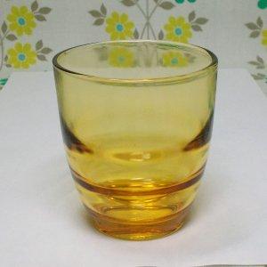 レトロポップ アンバーガラス 縞模様 グラス