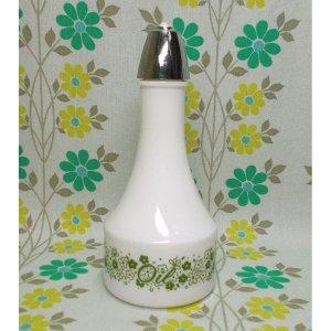 ビンテージ ベルギー製 デイジー花柄 ミルクガラスのオイルボトル