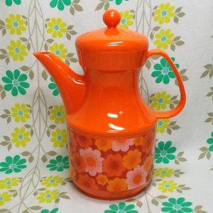 レトロプラスチック ワールド印 花柄 デラックス水差し オレンジ
