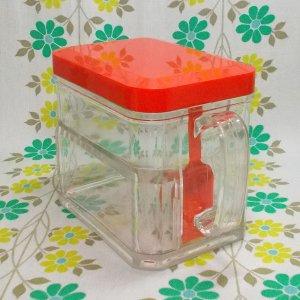 レトロプラスチック スプーン付き 調味料ポット レッド