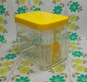 レトロプラスチック スプーン付き 調味料ポット イエロー