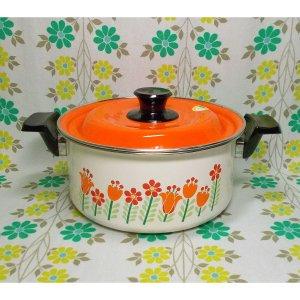レトロポップ ホーロー製 両手鍋 20cm オレンジチューリップ花柄