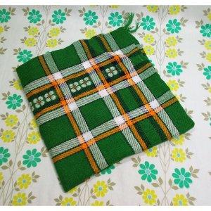 レトロポップ 座布団カバー 花柄×チェック柄 グリーン