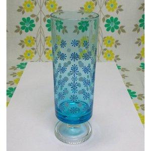 レトロポップ 青ガラス 足付きグラス 水玉×スノーフレーク柄