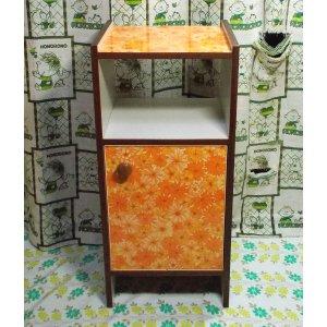 レトロポップ オレンジ花柄 電話台