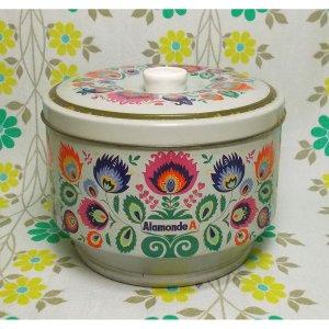 昭和レトロ アラモンドA 花柄 お菓子の空き缶