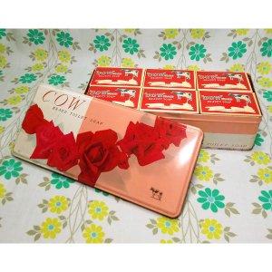 昭和レトロ 牛乳石鹸 12個セット 薔薇花柄 収納缶入り