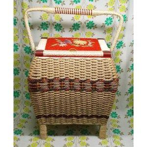 昭和レトロ 脚付き バスケット裁縫箱