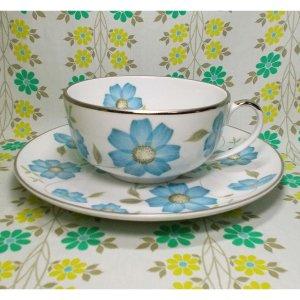 レトロポップ 陶器製 ブルー花柄 大きなスープカップ&プレート A