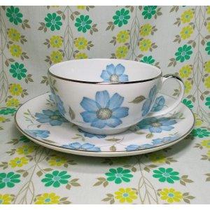 レトロポップ 陶器製 ブルー花柄 大きなスープカップ&プレート B