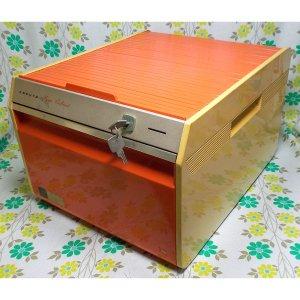 レトロポップ コクヨ ホームキャビネット シャッター付き 書類ケース オレンジ