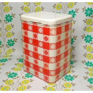 USAビンテージ レッド×ホワイト チェック花柄 キャニスター缶