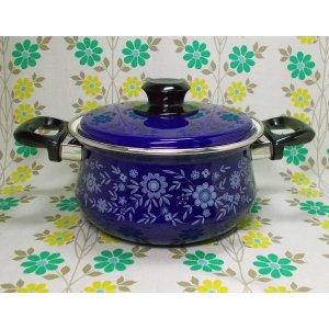 レトロポップ ホーロー製 両手鍋 20cm コバルトブルー×花柄