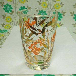 レトロポップ タンブラーグラス オレンジ花柄×金彩