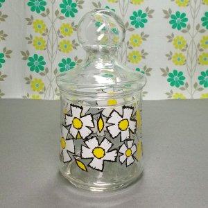 レトロポップ ホワイト花柄 キャンディージャー ガラス瓶ポット