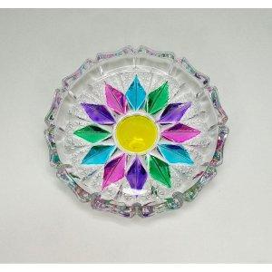 レトロポップ プレスガラス カラフルペイント 小皿