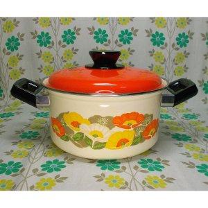 レトロポップ ホーロー製 両手鍋 オレンジ・イエローホワイト花柄