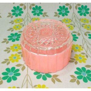 レトロプラスチック ダイヤカット 蓋付き容器 ピンク