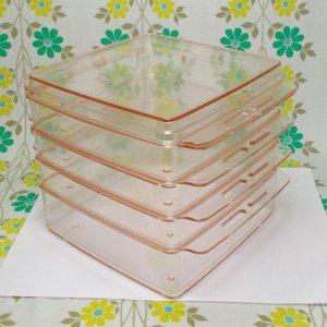 レトロプラスチック 角型 4段ボックス クリアピンク