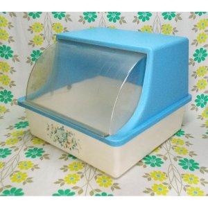 レトロプラスチック 花柄 フードボックス 青×白