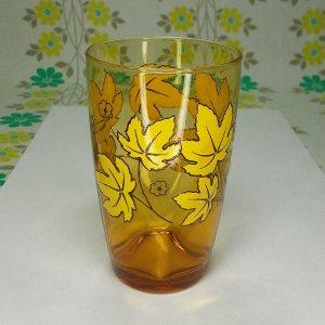 レトロポップ タンブラーグラス アンバーガラス 紅葉柄