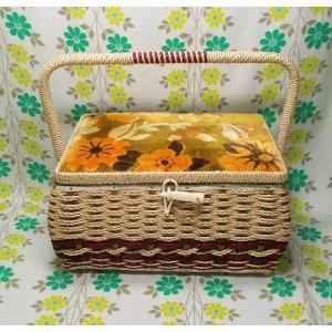 昭和レトロ 花柄 バスケット裁縫箱