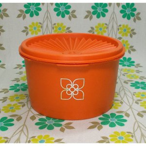オールドタッパーウェア ミニデコレーター(オレンジ・花柄)