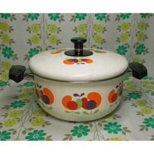 レトロポップ ホーロー製 両手鍋 20cm チューリップ花柄