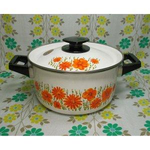 レトロポップ ホーロー製 両手鍋 20cm オレンジ花柄