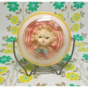 昭和レトロ 文化人形入り 折り畳み式 卓上鏡 小 A
