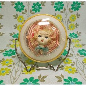 昭和レトロ 文化人形入り 折り畳み式 卓上鏡 小 B