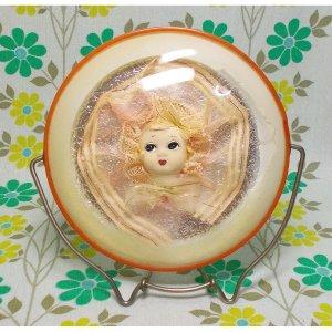 昭和レトロ 文化人形入り 折り畳み式 卓上鏡 中