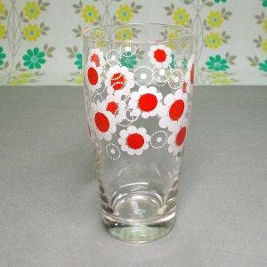 レトロポップ ホワイト×レッド花柄 タンブラーグラス 花まわし