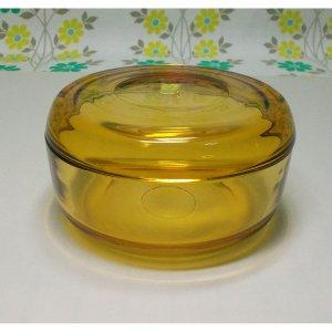 レトロポップ アンバーガラス 蓋物