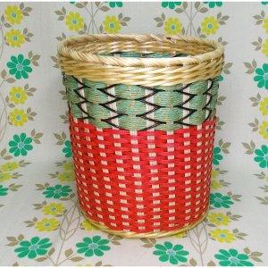 昭和レトロ カゴ編み 丸ゴミ箱 小