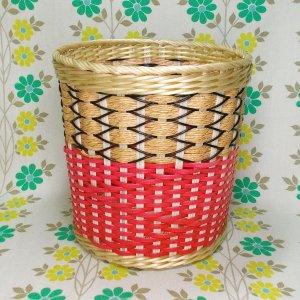 昭和レトロ カゴ編み 丸ゴミ箱 中