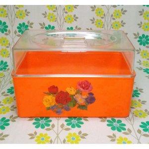 レトロプラスチック 薔薇花柄 パンケース オレンジ