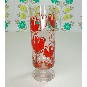 レトロポップ ピンクガラス 足付きグラス チューリップ花柄