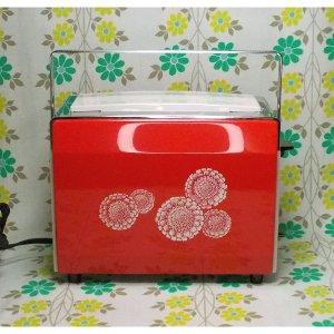 レトロポップ 東芝製 花柄 自動トースター きんせんか 赤