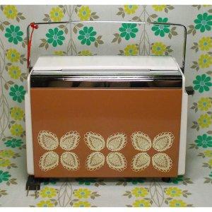 レトロポップ 日立製 花柄 自動トースター 面影草 茶