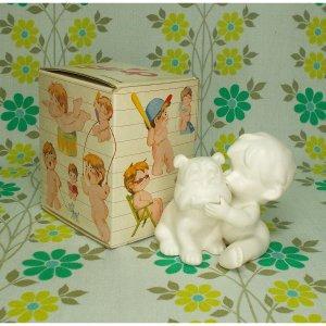 レトロファンシー 千趣会 Skip 白い陶器人形 「なかよし」