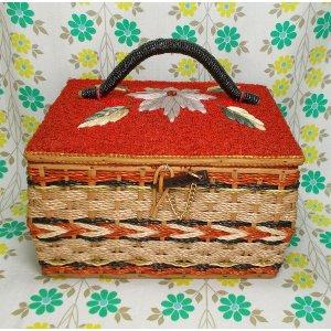昭和レトロ バスケット裁縫箱 刺繍花柄