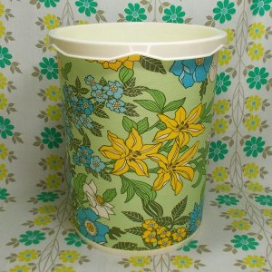 レトロポップ 花柄 ゴミ箱 青×黄×白