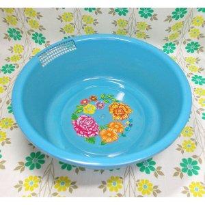 レトロプラスチック 花柄 洗い桶 ブルー