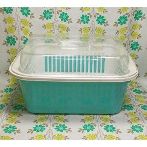 レトロプラスチック フタ付き 水切りカゴ スター洗桶セット(大) 水色