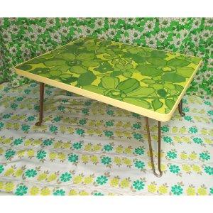 レトロポップ グリーン花柄 折りたたみテーブル B