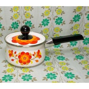 レトロポップ ホーロー製 花柄 片手鍋 16cm フィオーレ