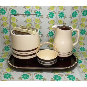 レトロポップ アイスペール&ピッチャーセット 茶ボーダー柄