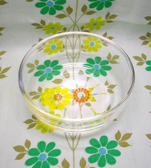 レトロ 花柄 ガラスボウル
