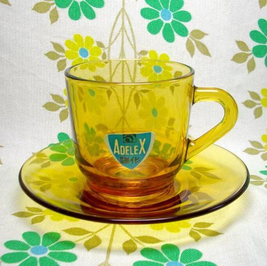 レトロ アンバーガラス カップ&ソーサー